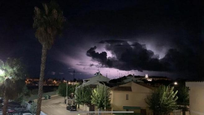 Tormenta eléctrica en Los Alcázares, Murcia, durante el episodio de gota fría.