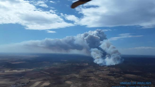 Incendio en el paraje 'El Chorrito' de Paterna del Campo (Huelva)