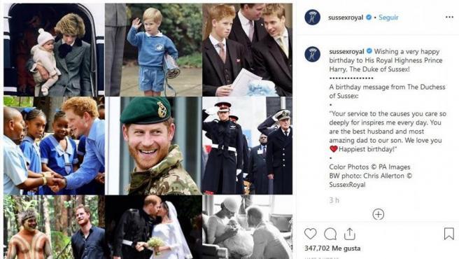 Publicación de Meghan Markle en Instagram para felicitar al príncipe Harry.