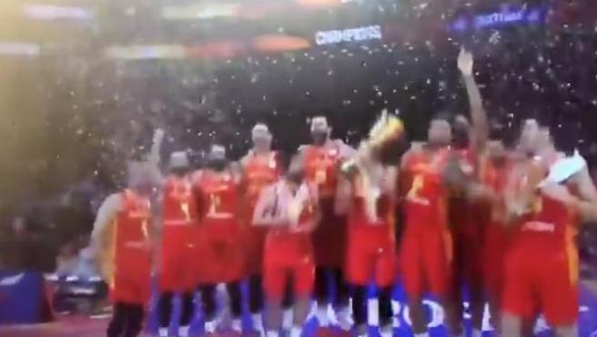 La Selección española, en el podio del Mundial de China 2019.
