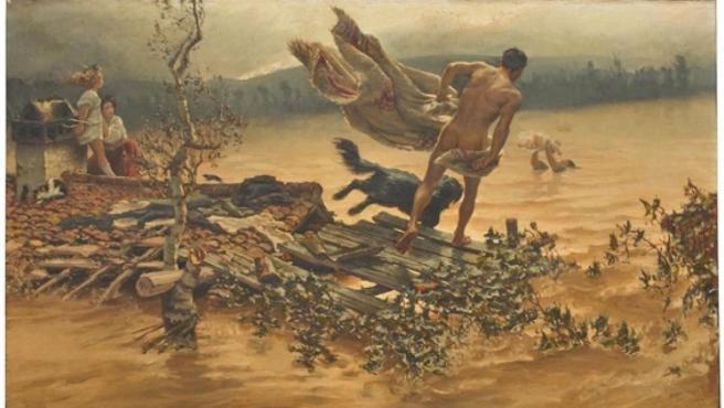 Lienzo 'Episodio de la inundación de Murcia', de Antonio Muñoz Degrain