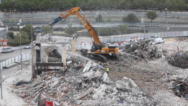Imagen reciente del proceso de demolición del Estadio Vicente Calderón.