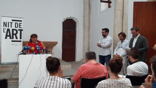 La Vicepresidenta del Consell y consellera de Cultura, Patrimonio y Política Lingüística, Bel Busquets, en la presentación de las exposiciones de la Nit de l'Art de Palma
