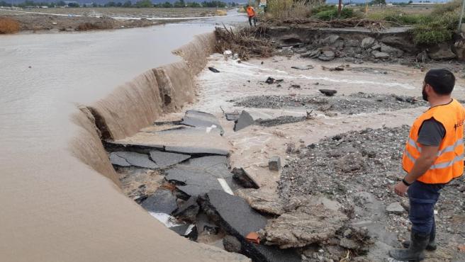 Daños de la riada, gota fría, en Puerto Lumbreras