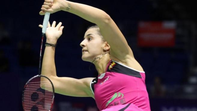 La jugadora española de bádminton Carolina Marín, durante el Abierto de China.