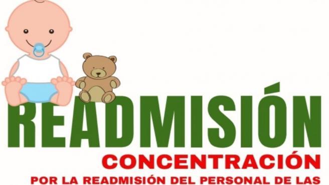Cartel de la concentración convocada por la readmisión de las educadoras de 0 a 3 de Oviedo
