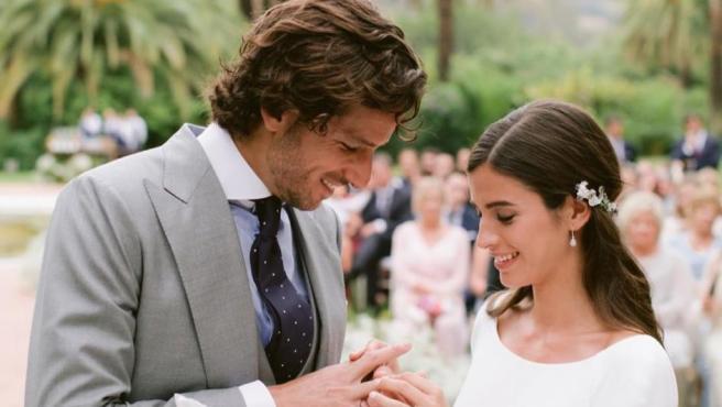 Imagen de Feliciano López y Sandra Gago, el día de su boda.