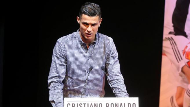 Cristiano Ronaldo, durante la recepción del 'Marca Leyenda'.