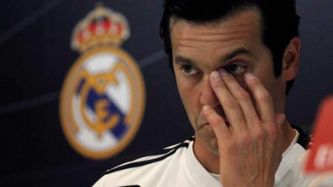 Santiago Solari, en la sala de prensa de la Ciudad Real Madrid.