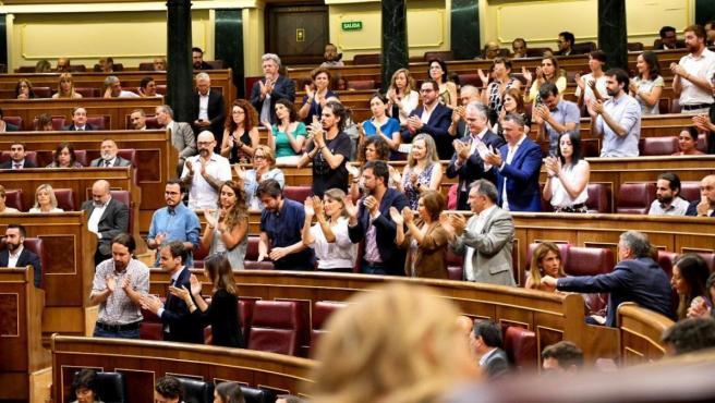Bancada de Unidas Podemos en el Congreso en un momento de la segunda votación de investidura.