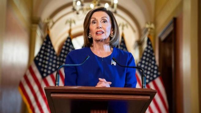 La presidenta de la Cámara Baja de EE UU, la demócrata Nancy Pelosi, anuncia el inicio de un juicio político ('impeachment') contra el presidente estadounidense, Donald Trump.