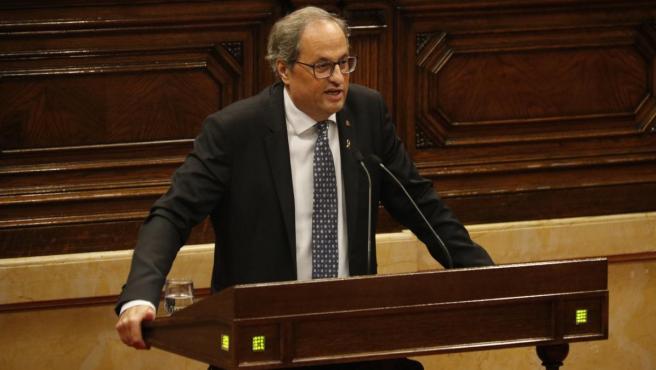 El presidente de la Generalitat, Quim Torra, durante su intervención en el debate de política general en el Parlament.