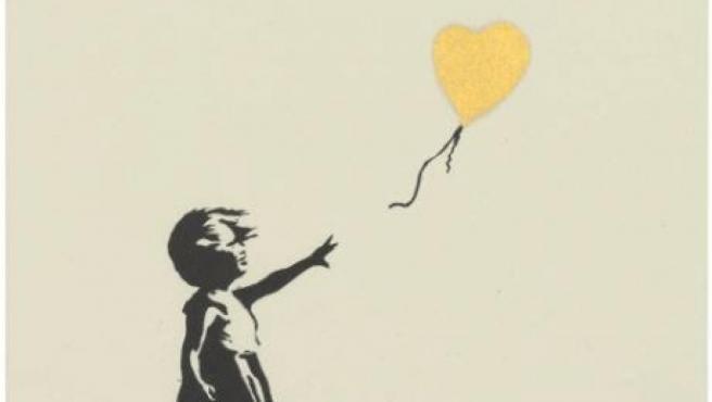<p>El grabado 'Niña con globo' de Banksy.</p>