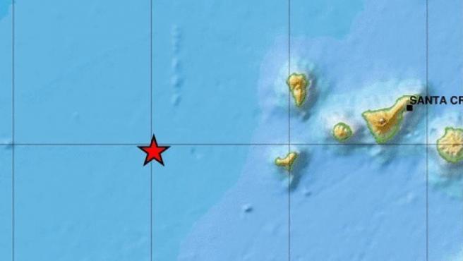 Mapa de localización del terremoto que ha sacudido la isla de El Hierro.