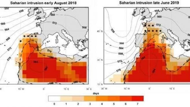 Diagrama que muestra la llegada de aire caliente sahariano a la península durante los episodios de temperaturas extremas en agosto 2018 y junio 2019.