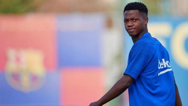 Ansu Fati, durante un entrenamiento del Barcelona.