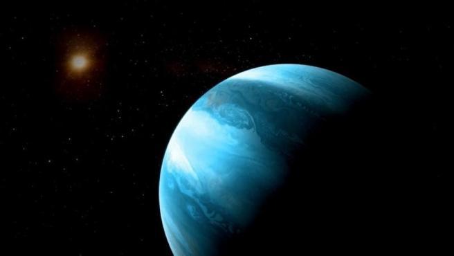 Recreación de un exoplaneta y una estrella.