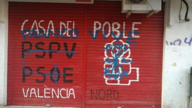 Ataque a la sede del PSPV de València Nord