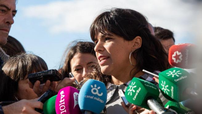Teresa Rodríguez en una rueda de prensa.