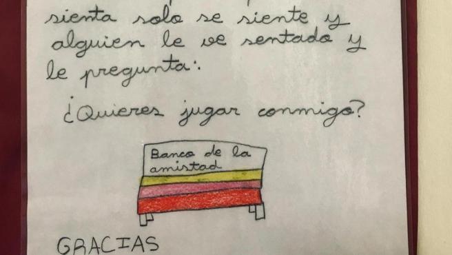 Imagen de la carta de una niña de cuarto de primaria de un colegio de Burgos en la que pide la instalación de un 'banco de la amistad'.