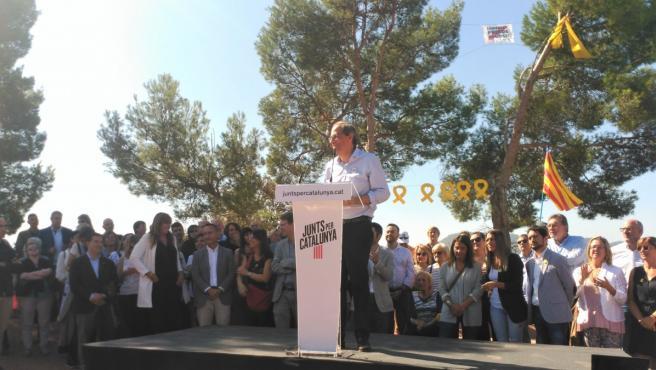 Quim Torra en un acto de JxCat ante la cárcel de Lledoners (Barcelona).