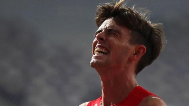 <p>Adrián Ben, durante su semifinal de 800 metros en el Mundial de atletismo de Doha.</p>
