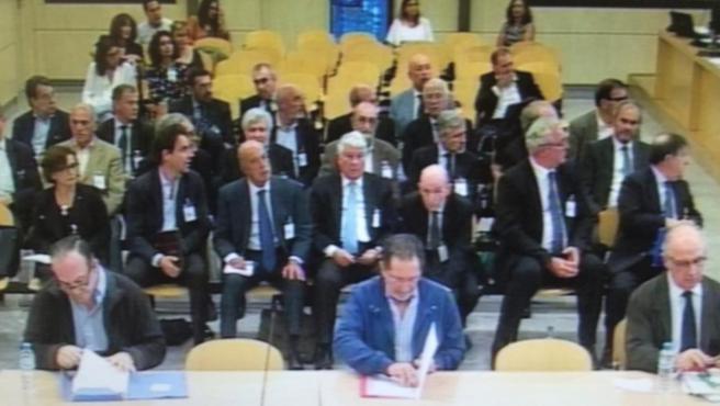 Banquillo del juicio por la salida a Bolsa de Bankia, en una captura de vídeo correspondiente a la sesión del 4 de septiembre de 2019.