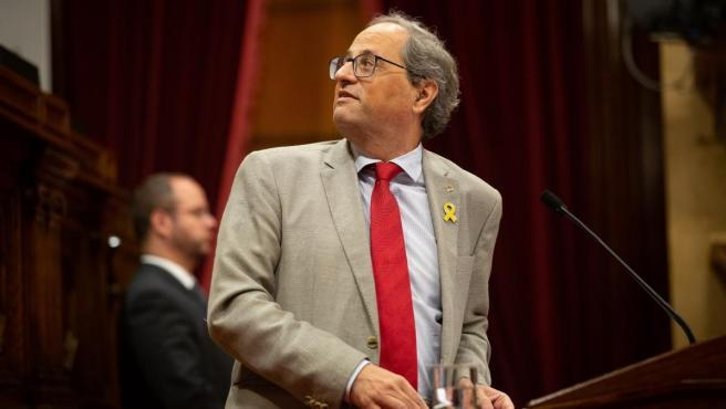 El presidente de la Generalitat de Cataluña, Quim Torra, en el Parlament.