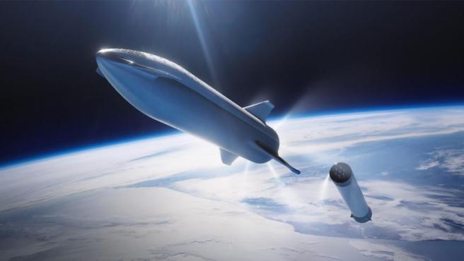 Ilustración de la nave Starship, de SpaceX.