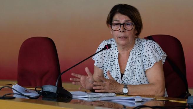 Inés Sabanés en rueda de prensa.