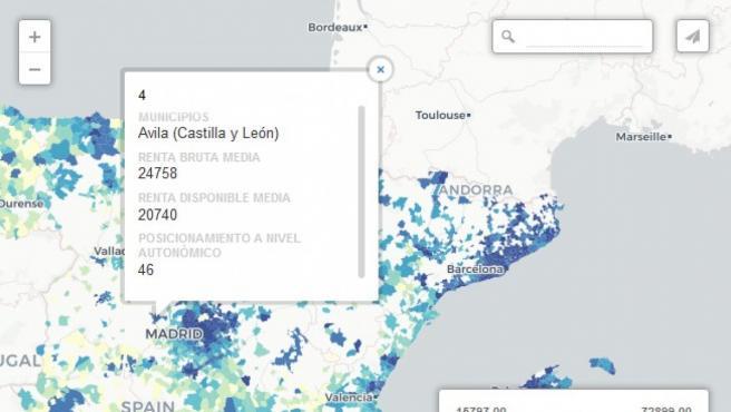 Buscador de renta por municipio (consultar en la aplicación de debajo)