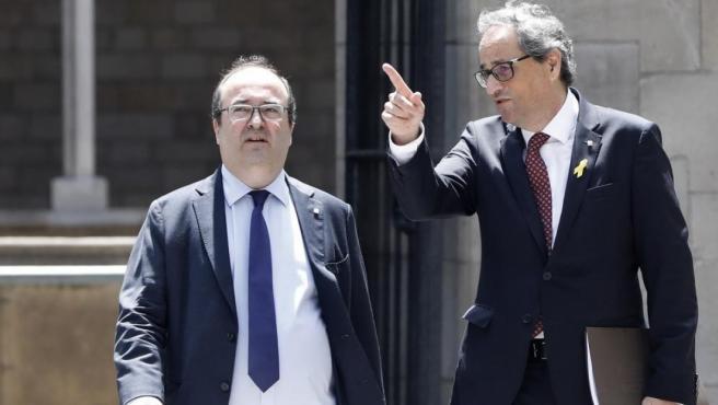 Foto de archivo el presidente catalán Quim Torra y Miquel Iceta.