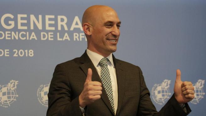Luis Rubiales, el día que ganó la presidencia de la RFEF.