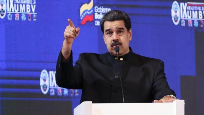 El mandatario venezolano, Nicolás Maduro, durante el acto del IX Aniversario de la Universidad Militar Bolivariana, en Caracas.