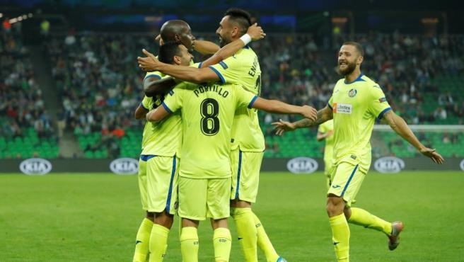 Un lance del partido de Europa League entre el Krasnodar y el Getafe.