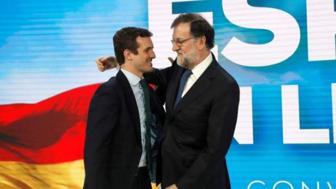 Mariano Rajoy y Pablo Casado, en la convención del Partido Popular.