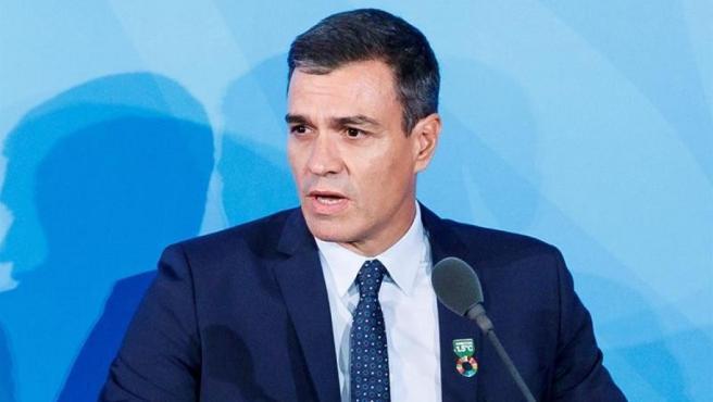 El presidente del Gobierno en funciones, Pedro Sánchez, durante su intervención en la Cumbre de Acción Climática de la ONU, en Nueva York.