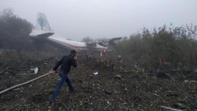 El avión estrellado en Ucrania.