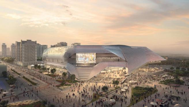 Figuración virtual del exterior del futuro pabellón Valencia Arena.