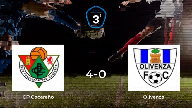 El Cacereño se queda con los tres puntos frente al Olivenza (4-0)