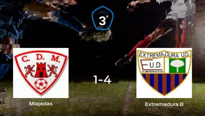 Goleada del Extremadura B en el estadio del Miajadas (1-4)
