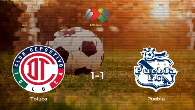 El Toluca y el Puebla se reparten los puntos tras empatar a uno