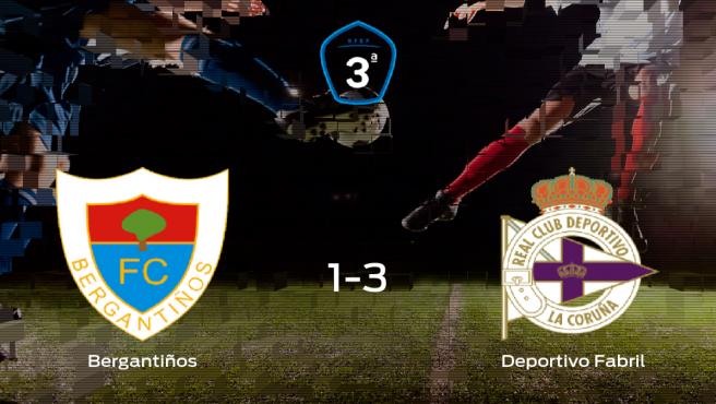El Deportivo Fabril se lleva tres puntos a casa tras derrotar 1-3 al Bergantiños