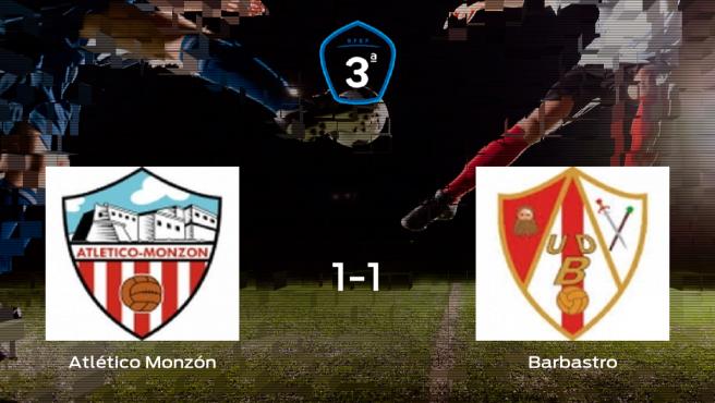 El Atlético Monzón y el Barbastro se reparten los puntos en el Isidro Calderón (1-1)