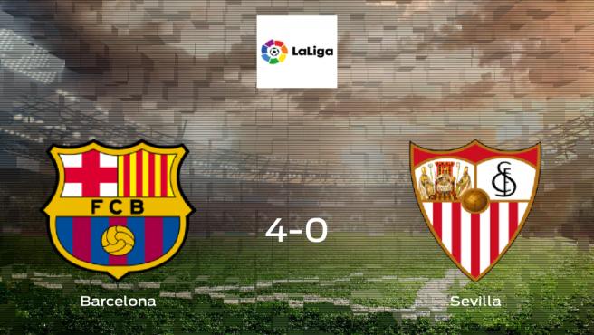 El Barcelona consigue los tres puntos en casa tras pasar por encima al Sevilla (4-0)