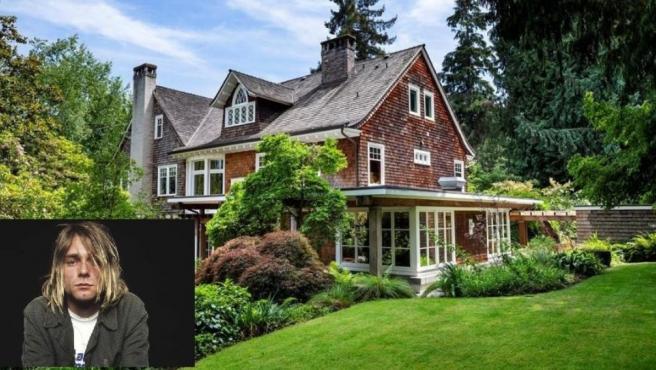 La casa en la que murió Kurt Cobain, con una foto del artista insertada.