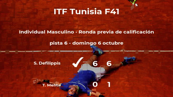 Sebastian Defilippis logra ganar en la ronda previa de calificación a costa del tenista Tanay Mehta