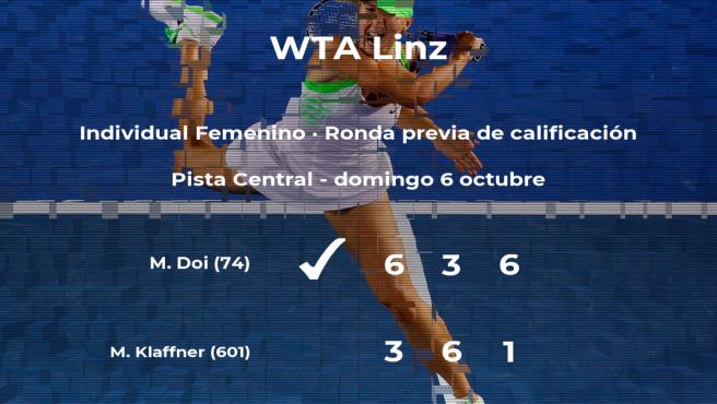 Victoria de la tenista Misaki Doi en la ronda previa de calificación