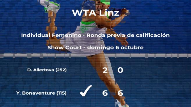 Ysaline Bonaventure logra vencer en la ronda previa de calificación a costa de la tenista Denisa Allertova
