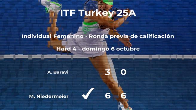 Victoria de la tenista Michaela Niedermeier en la ronda previa de calificación